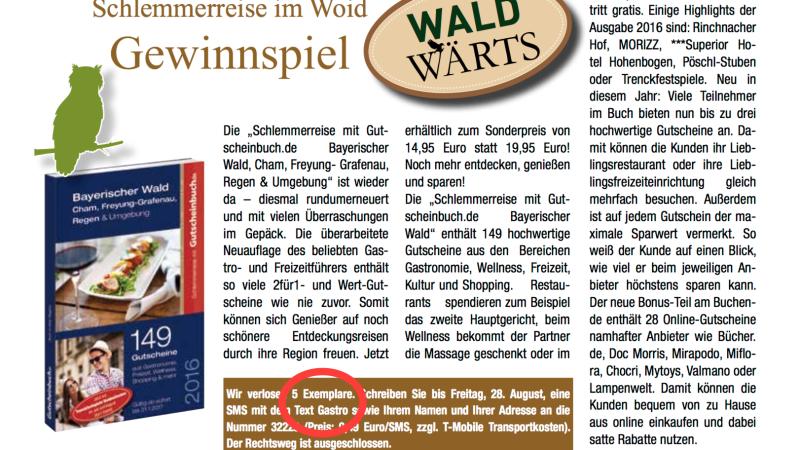 'Waldwärts', Ausgabe KW 32 – Gewinnspiel 'Schlemmerreise im Woid'